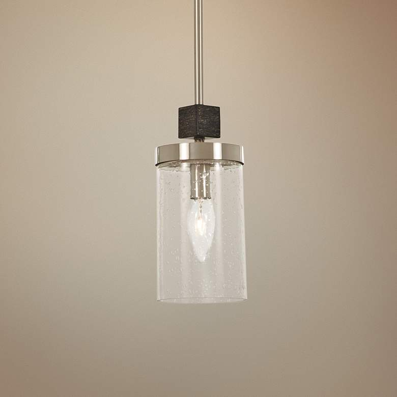 "Bridlewood 4""W Stone Gray and Brushed Nickel Mini Pendant"