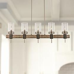 "Bridlewood 40""W Gray and Nickel Kitchen Island Light Pendant"