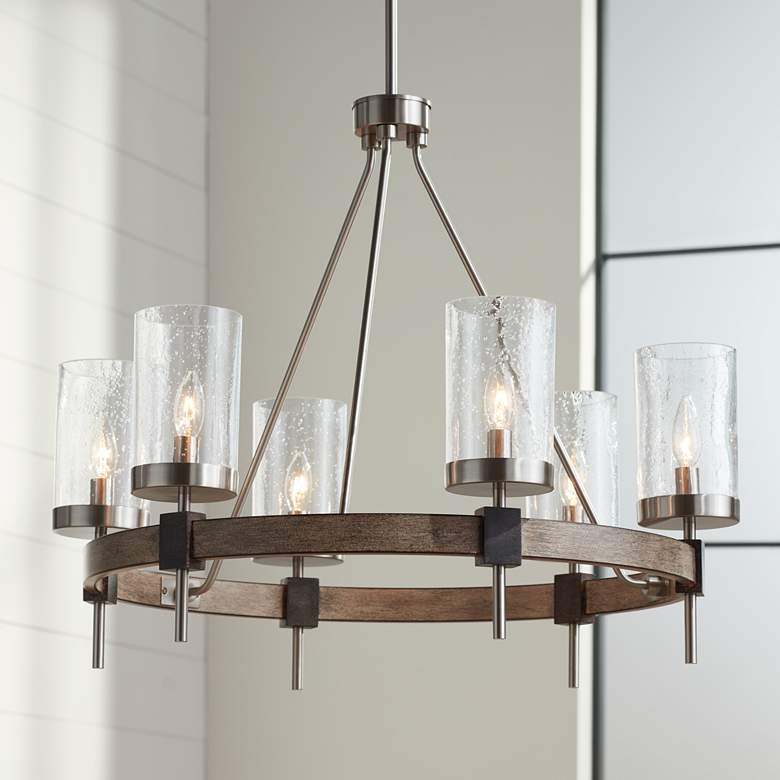 "Bridlewood 28"" Wide Stone Gray and Nickel 6-Light Chandelier"