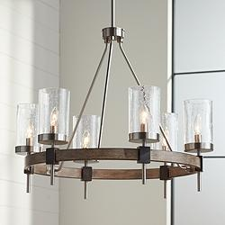 "Bridlewood 28"" Wide Wood Ring Modern Wagon Wheel Chandelier"