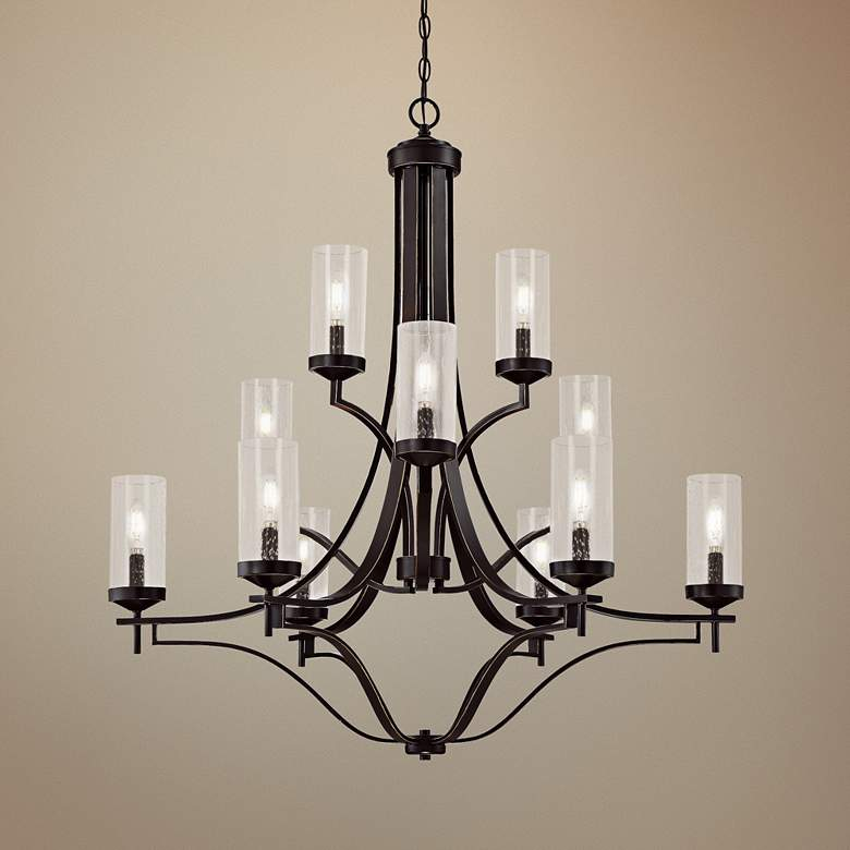 "Elyton 36"" Wide Downtown Bronze 12-Light Chandelier"