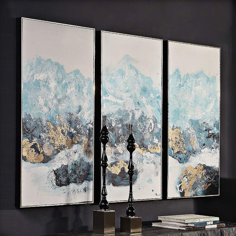 "Crashing Waves 48"" High 3-Piece Framed Canvas Wall"