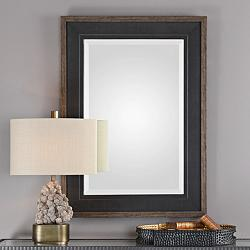 "Uttermost Staveley Rustic Black 30"" x 42"" Wall Mirror"