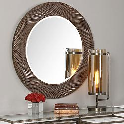 "Uttermost Aziza Distressed Bronze 35"" Round Wall Mirror"