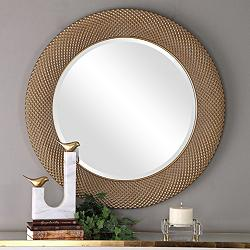 "Uttermost Aziza Metallic Gold 35"" Round Wall Mirror"
