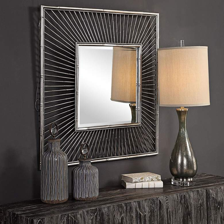 "Anji Metallic Silver 39"" Square Oversized Wall Mirror"