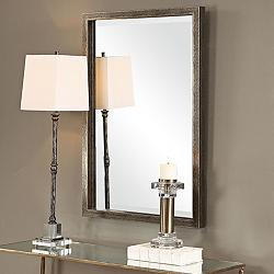 "Uttermost Aburay Silver 26 1/4"" x 38 1/2"" Wall Mirror"