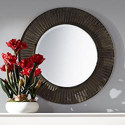"Breslin Bronze Metal Layered 33 1/2"" Round Wall Mirror"
