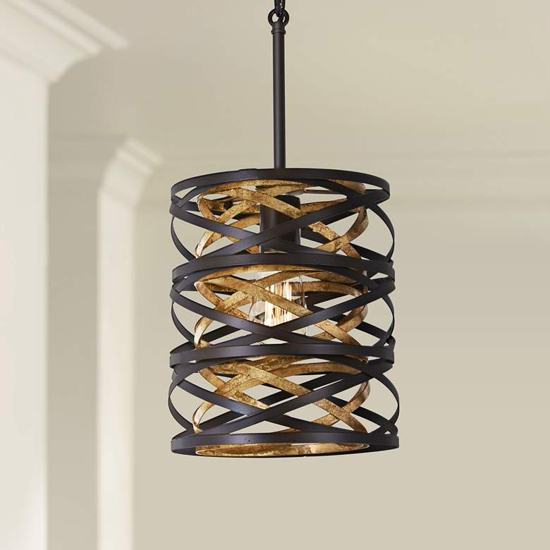"Vortic Flow 8 1/2""W Dark Bronze and Mosaic Gold Mini Pendant"