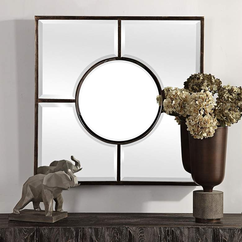 "Uttermost Baeden Dark Bronze 36"" Square Wall Mirror"