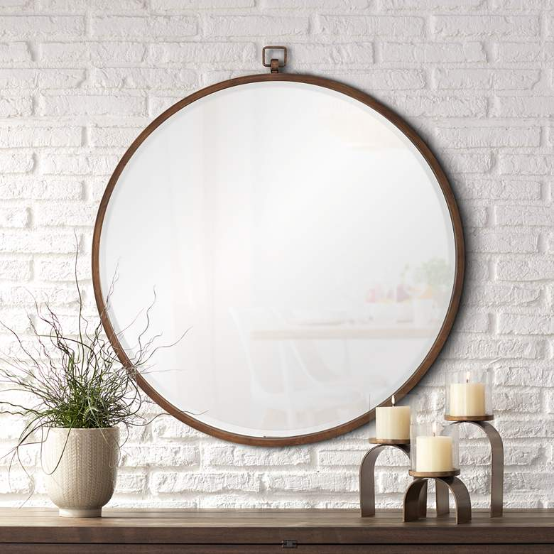 "Quinn Antique Bronze 36"" Round Wall Mirror"