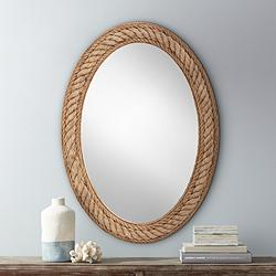 "Rope Jute 30"" x 41"" Oval Wall Mirror"