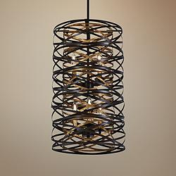 "Vortic Flow 14""W Dark Bronze and Mosaic Gold 6-Light Pendant"
