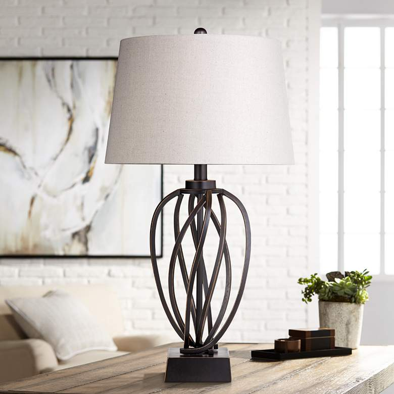 Orson Bronze Metal Spiraled Table Lamp