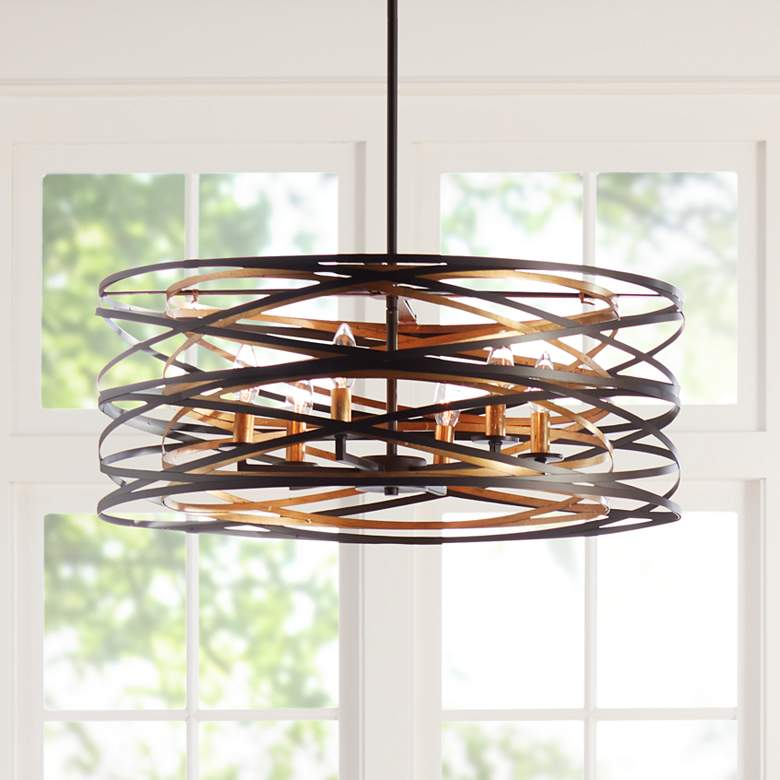 "Vortic Flow 26"" Wide Dark Bronze Mosaic Gold 6-Light Pendant"