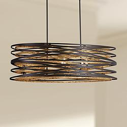 "Vortic Flow 40""W Bronze Gold Kitchen Island Light Pendant"