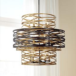 "Vortic Flow 30"" Wide Dark Bronze and Gold 18-Light Chandelier"