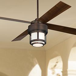 "52"" Casa Vieja Tercel Bronze LED Outdoor Ceiling Fan"