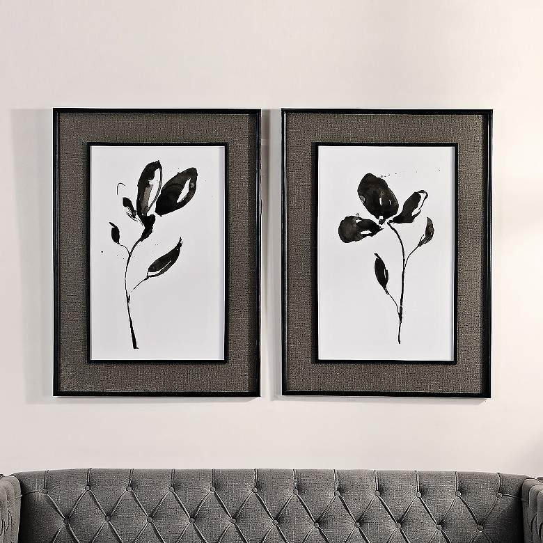 "Solitary Sumi-e 41 3/4"" High 2-Piece Framed Wall Art Set"