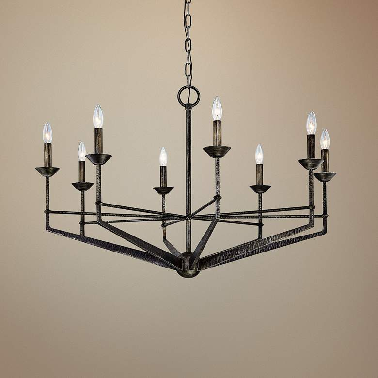 "Glasgow 40 1/2"" Wide 8-Light Pompeii Silver Chandelier"