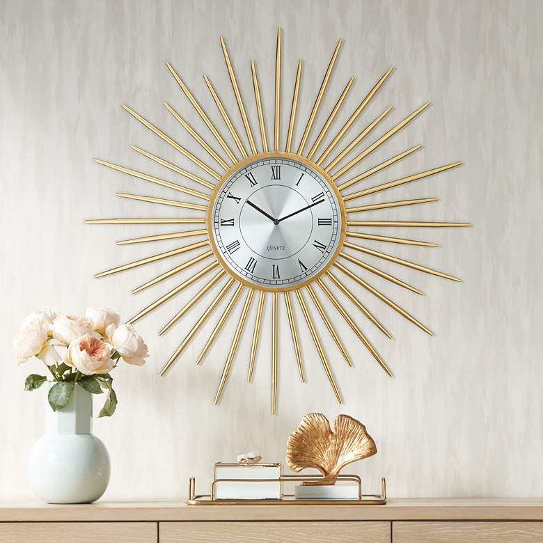 "Castallia Gold 28"" Round Metal Wall Clock"