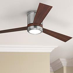 "52"" Monte Carlo Clarity Brushed Steel Hugger LED Ceiling Fan"