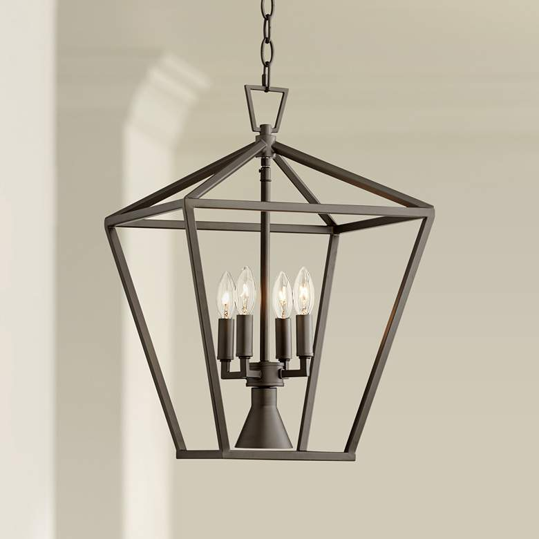 "Daynes 19 3/4""W Bronze 4-Light Entry Pendant with"