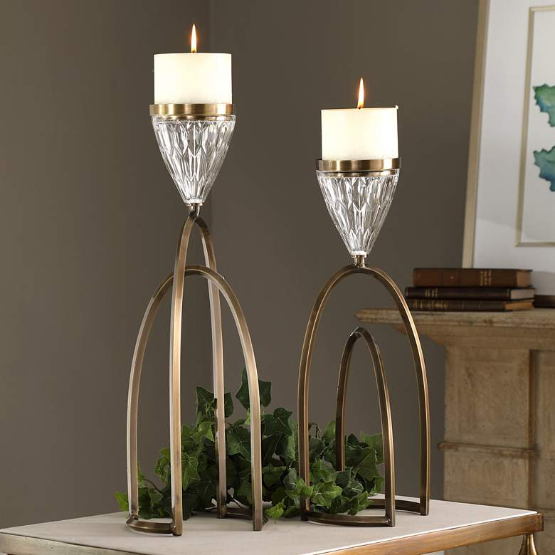 Carma Bronze and Clear Glass Pillar Candle Holder
