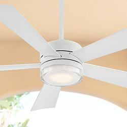 "52"" Modern Forms Wynd Matte White LED Wet Ceiling Fan"