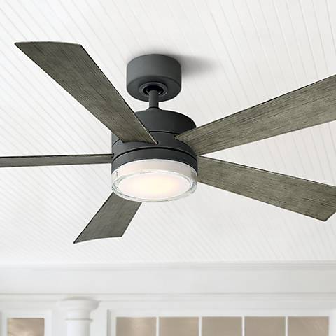 "52"" Modern Forms Wynd Graphite LED Wet Ceiling Fan"