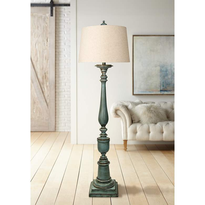 Avignon Blue Floor Lamp with Hardback Fabric Shade
