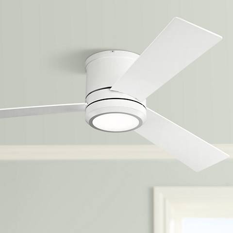 "56"" Clarity Max Matte White LED Damp Hugger Ceiling Fan"