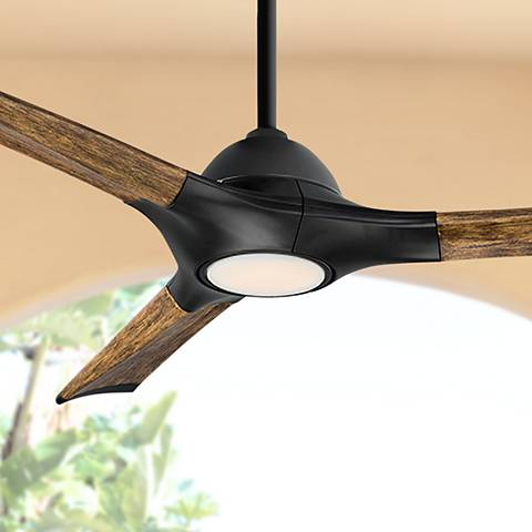 "60"" Modern Forms Woody Matte Black LED Outdoor Ceiling Fan"