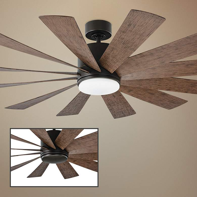 "60"" Modern Forms Windflower Bronze Wet LED Ceiling Fan"