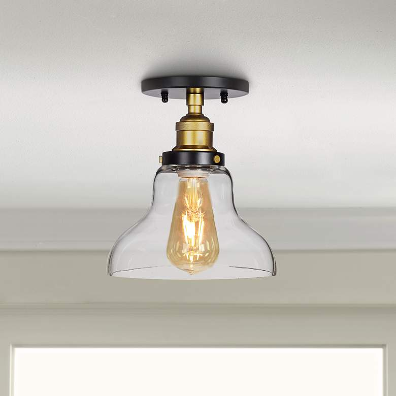 "The District 8"" Wide Black and Gold LED Ceiling Light"