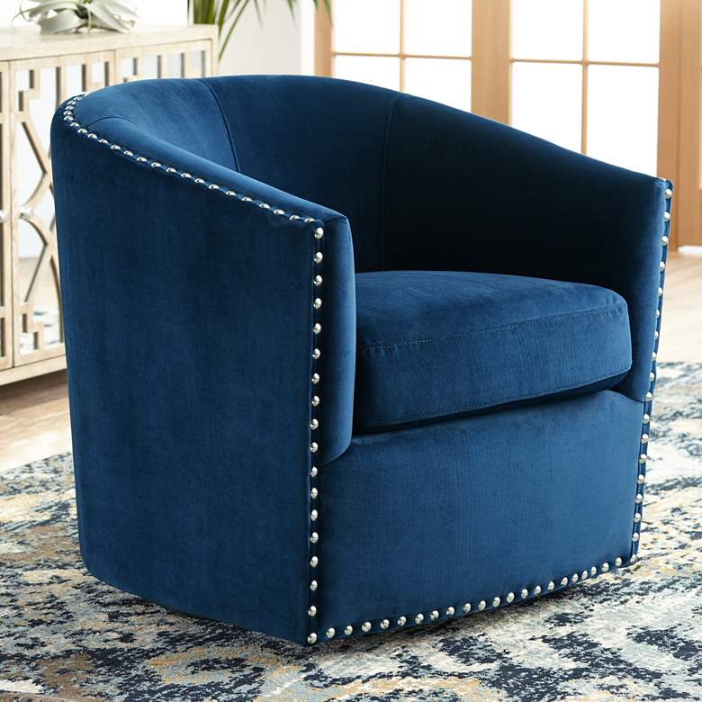 Fullerton Navy Blue Swivel Accent Chair