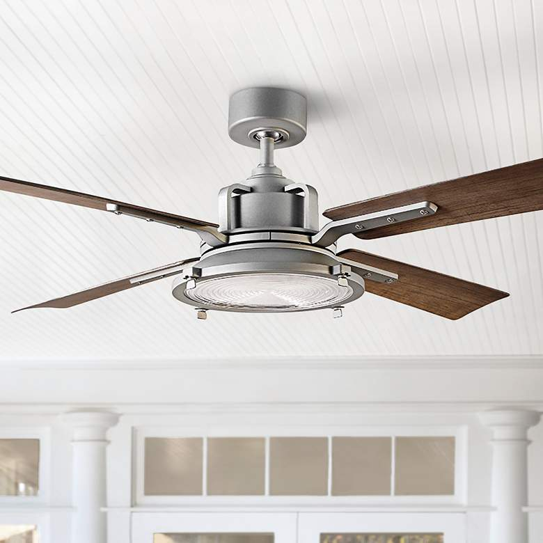 "56"" Modern Forms Nautilus Graphite LED Wet Ceiling Fan"