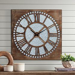 "Milton 30"" Square Roman Numeral Wood Wall Clock"