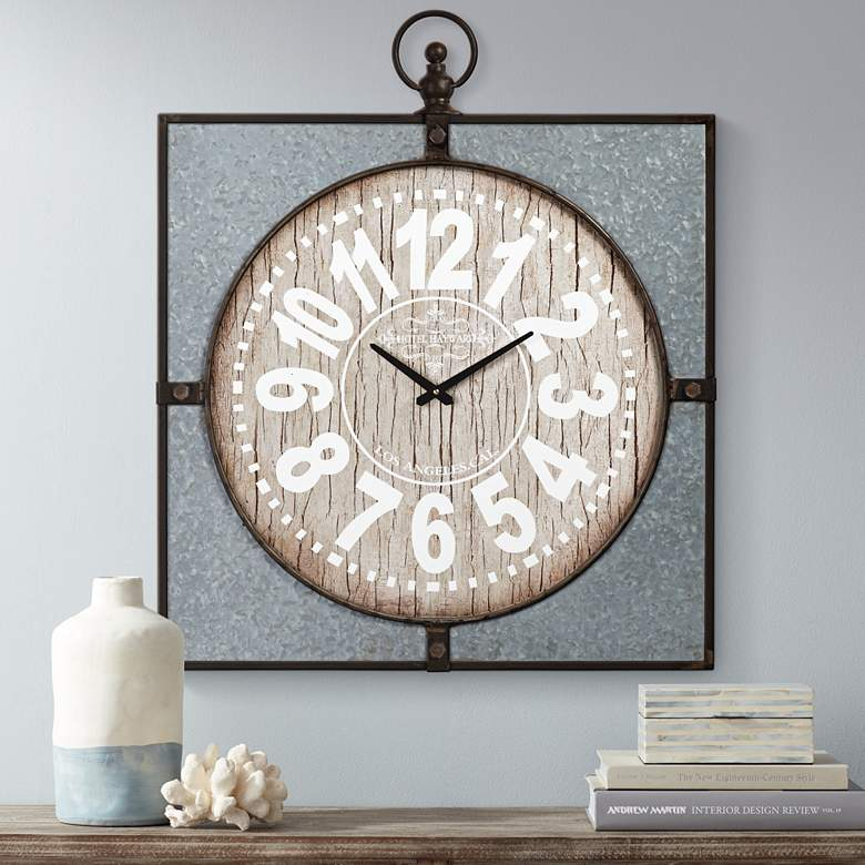 "Hotel Hayward 33"" High Wood and Metal Wall Clock"