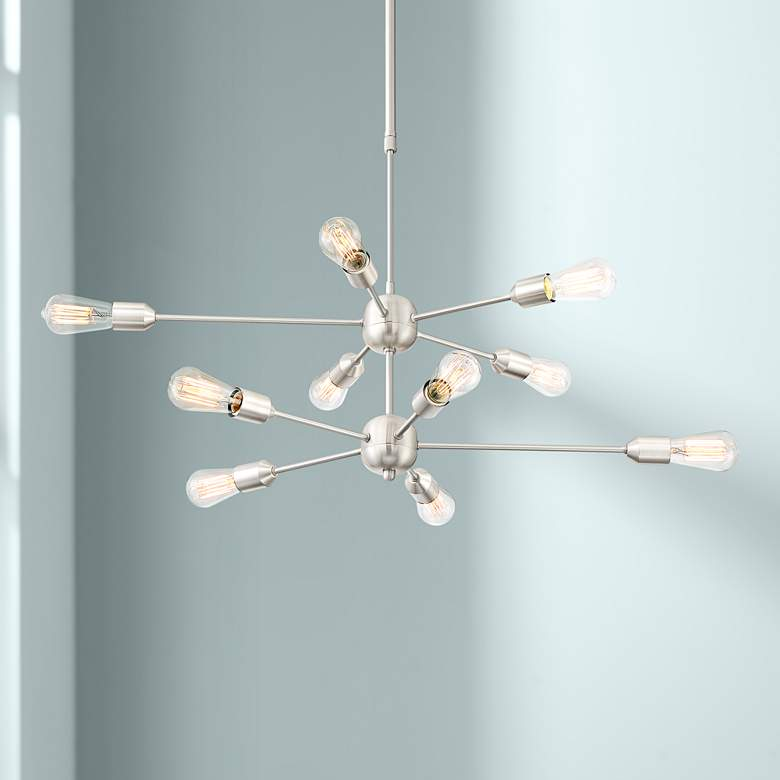 "Possini Euro Ally 38""W Satin Nickel 10-Light LED Chandelier"