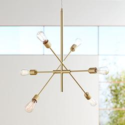 "Possini Euro Ally 27 1/2"" Wide Brass 6-Light Sputnik Pendant"