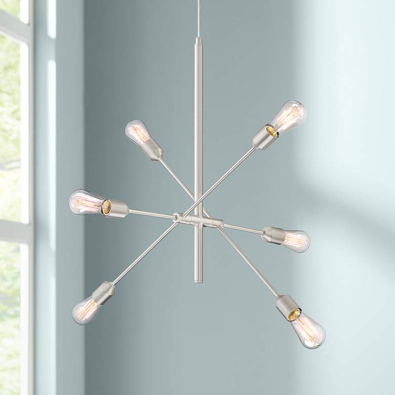 "Ally 27 1/2"" Wide Satin Nickel 6-Light Sputnik Pendant"