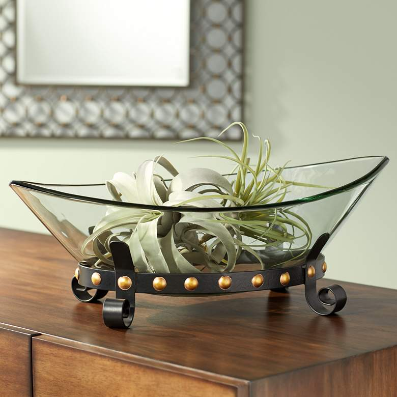 "Rayden 23 1/4"" Wide Decorative Glass Bowl with Studded Base"
