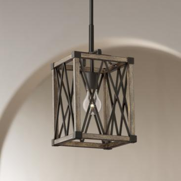 "Timothy 8"" Wide Bronze and Wood Mini Pendant Light"
