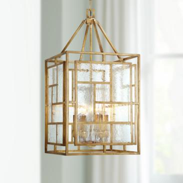 "Edgemont Park 18"" Wide 6-Light Pandora Gold Leaf Pendant"