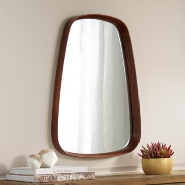 "Kieran Walnut 22 1/2"" x 31 1/2"" Oblong Wall Mirror"