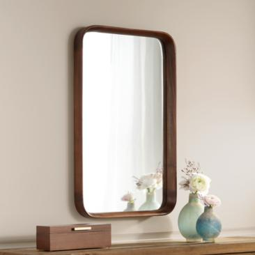 "Kieran Golden Walnut 19 3/4"" x 31 1/2"" Wood Wall Mirror"