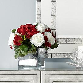 Red And White Roses 14 1 4 High Faux Flowers In Container