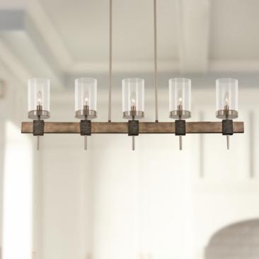 "Bridlewood 40""W Stone Gray and Nickel 5-Light Island Pendant"