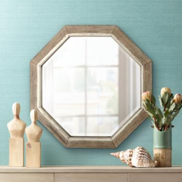 "Aspen Natural Wood 28 3/4"" x 28 3/4"" Octagonal Wall Mirror"
